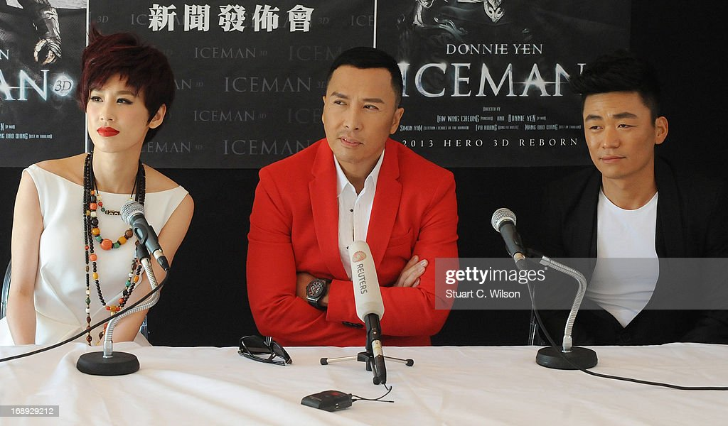 Eva Huang, <a gi-track='captionPersonalityLinkClicked' href=/galleries/search?phrase=Donnie+Yen&family=editorial&specificpeople=235559 ng-click='$event.stopPropagation()'>Donnie Yen</a> and Wang Boaqiang attend the 'Iceman Cometh 3D' Photocall and Press conference at the 66th Annual Cannes Film Festival on May 17, 2013 in Cannes, France.