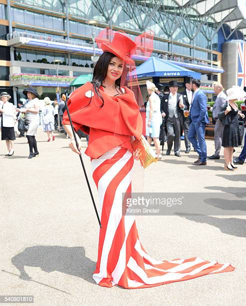 Eva Lanska attends day 4 of Royal Ascot at Ascot Racecourse on June 17 2016 in Ascot England