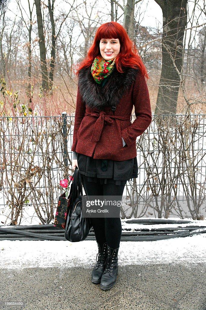 Eva Liliana Vlachova wearing Lena Hoschek scarf attends Mercedes-Benz Fashion Week Autumn/Winter 2013/14 at venue on January 15, 2013 in Berlin, Germany.