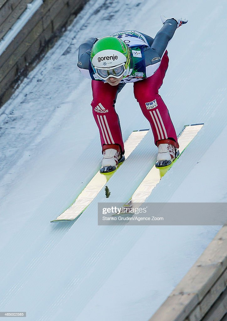 Eva Logar of Slovenia competes during the FIS Ski Jumping World Cup Women's HS95 on January 25, 2014 in Planica, Slovenia.