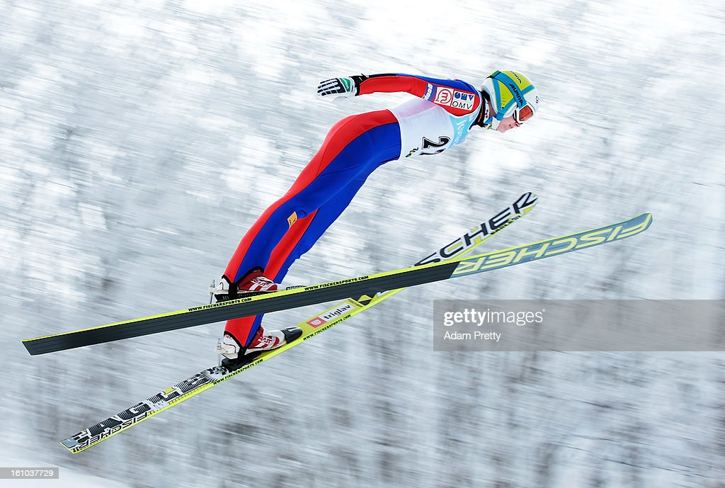 Eva Logar of Slovenia jumps in the first round of competition during day one of the FIS Women's Ski Jumping World Cup at Zao Jump Stadium on February 9, 2013 in Yamagata, Japan.