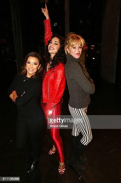 Eva Longoria Ana Villafane as 'Gloria Estefan' and Melanie Griffith pose backstage at the hit Gloria Estefan musical 'On Your Feet' on Broadway at...