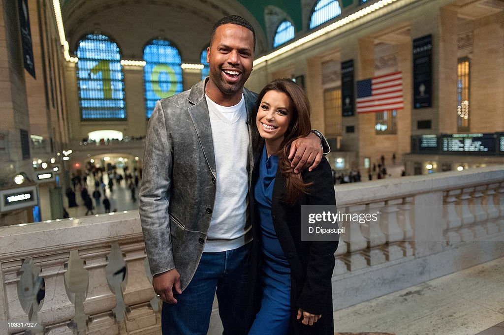 <a gi-track='captionPersonalityLinkClicked' href=/galleries/search?phrase=Eva+Longoria&family=editorial&specificpeople=202082 ng-click='$event.stopPropagation()'>Eva Longoria</a> (R) and AJ Calloway visit 'Extra' at Michael Jordan's The Steak House N.Y.C. in Grand Central Terminal on March 7, 2013 in New York City.