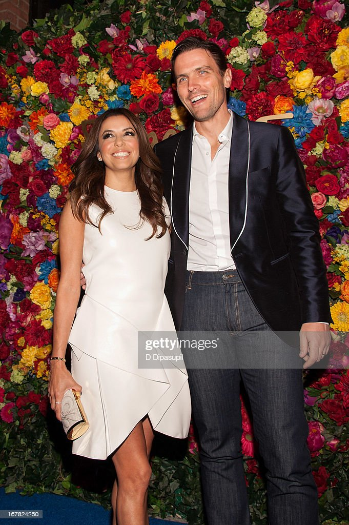 <a gi-track='captionPersonalityLinkClicked' href=/galleries/search?phrase=Eva+Longoria&family=editorial&specificpeople=202082 ng-click='$event.stopPropagation()'>Eva Longoria</a> (L) and <a gi-track='captionPersonalityLinkClicked' href=/galleries/search?phrase=James+Ferragamo&family=editorial&specificpeople=3951748 ng-click='$event.stopPropagation()'>James Ferragamo</a> attend Ferragamo Celebrates The Launch Of L'Icona Highlighting The 35th Anniversary Of Vara at 530 West 27th Street on April 30, 2013 in New York City.