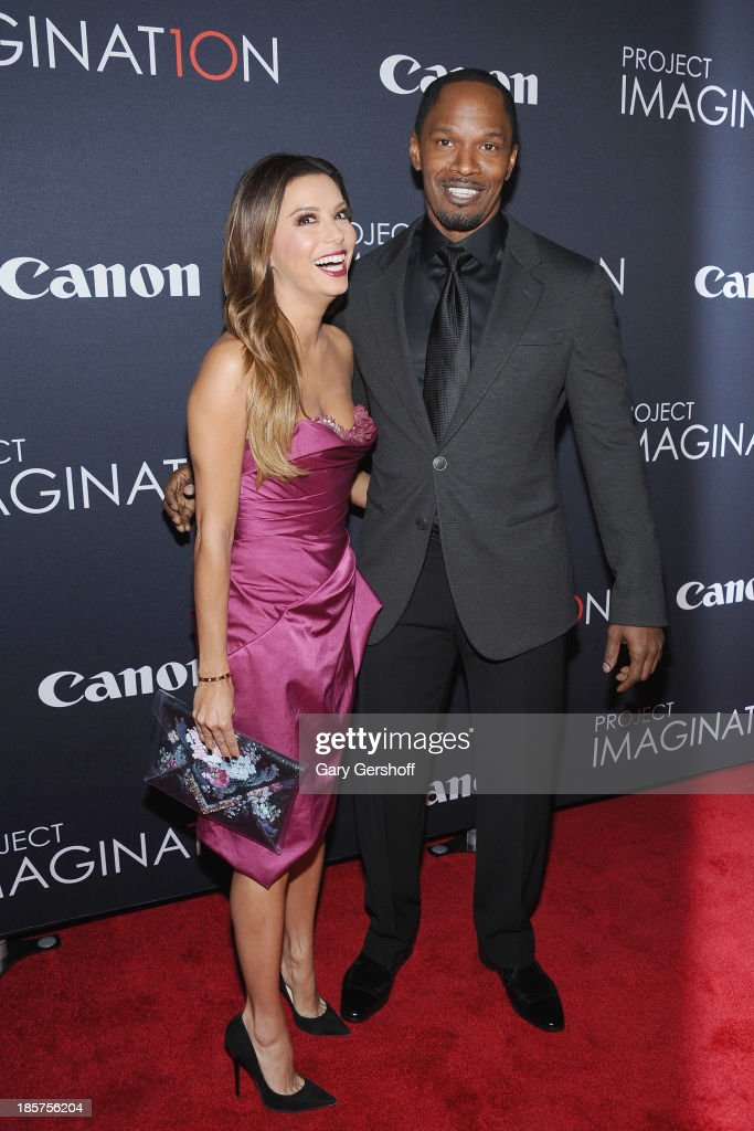 Eva Longoria and Jamie Foxx attend Canon's 'Project Imaginat10n' Film Festival opening night at Alice Tully Hall at Lincoln Center on October 24 2013...