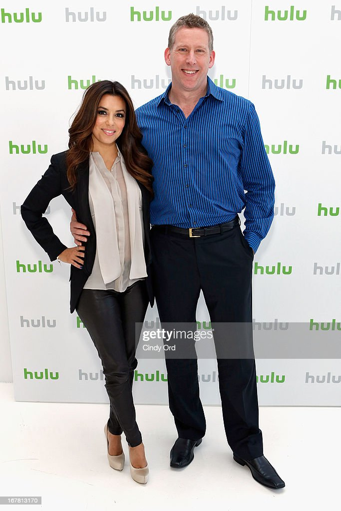 <a gi-track='captionPersonalityLinkClicked' href=/galleries/search?phrase=Eva+Longoria&family=editorial&specificpeople=202082 ng-click='$event.stopPropagation()'>Eva Longoria</a> and Michael Shipley attend Hulu NY Press Junket on April 30, 2013 in New York City.