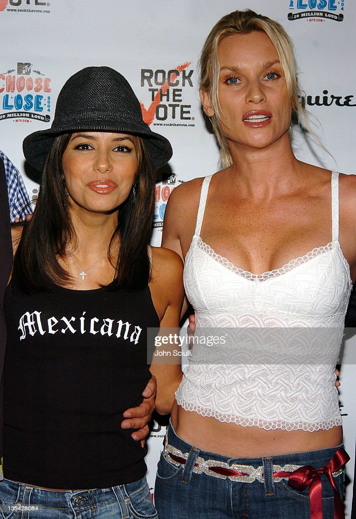 Eva Longoria and Nicollette Sheridan during Esquire House Hosts Young Hollywood 'Rock The Vote' Party Arrivals at The Esquire House Los Angeles in...