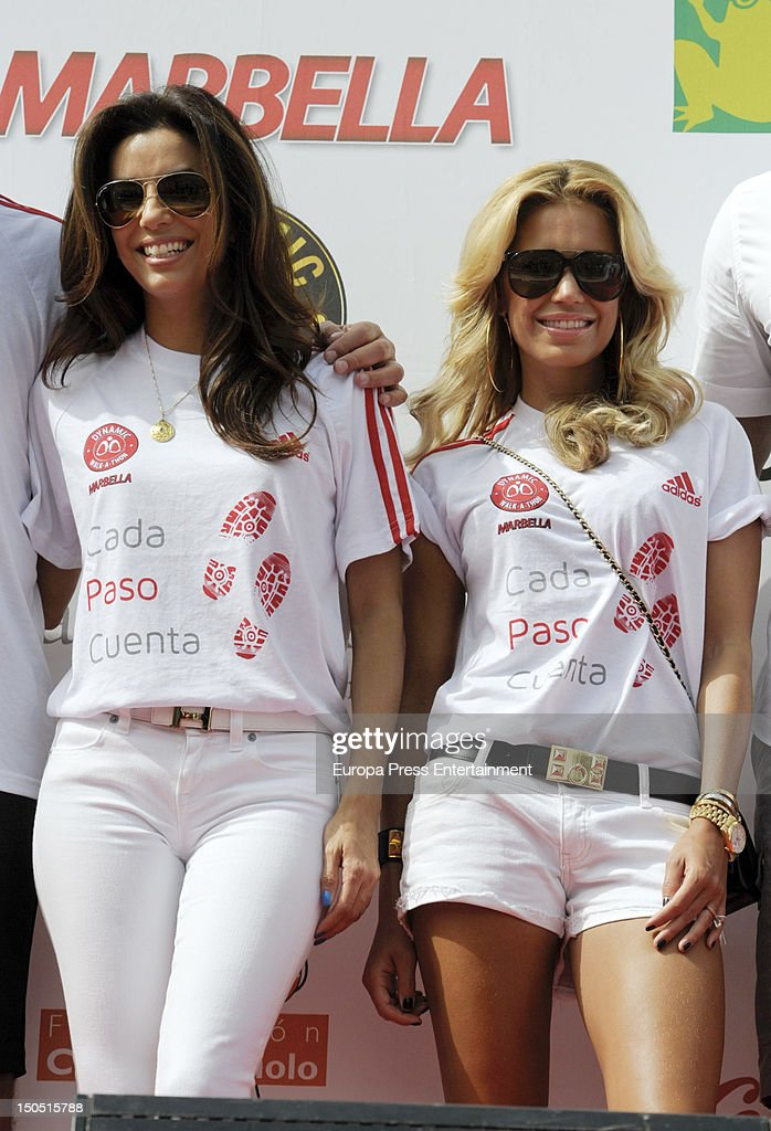 Eva Longoria and Sylvie Van Der Vaart attend the Dynamic WalkaThon a charity long walk through the city of Marbella to raise benefits for Cesare...