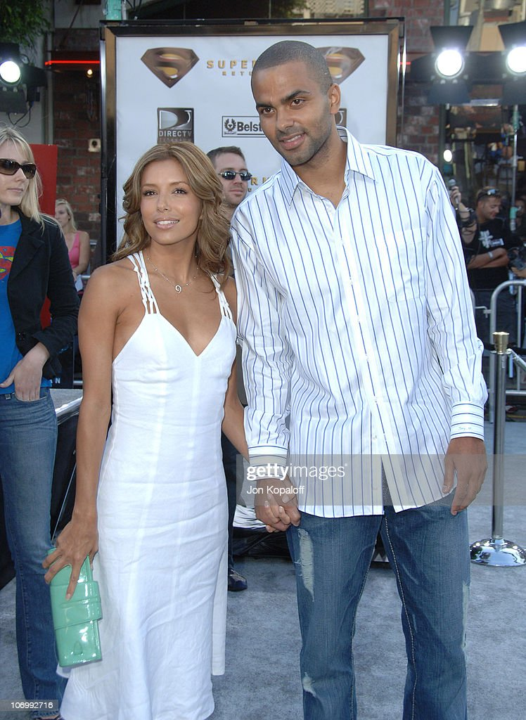 Eva Longoria and Tony Parker during 'Superman Returns' Los Angeles Premiere - Arrivals at Mann Village and Bruin Theaters in Westwood, California, United States.