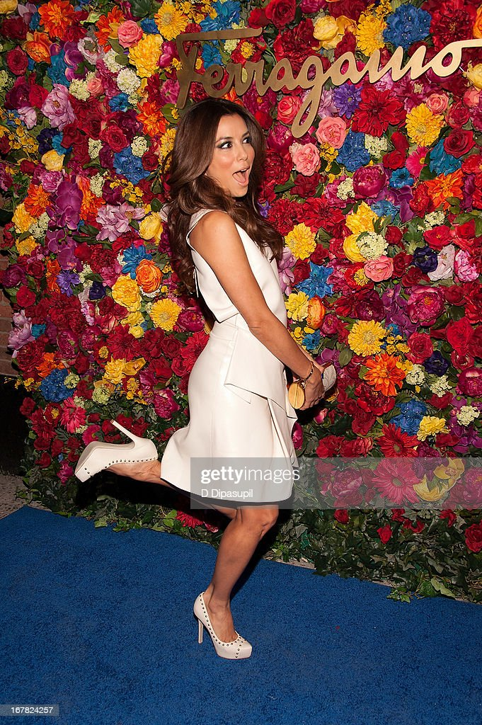 <a gi-track='captionPersonalityLinkClicked' href=/galleries/search?phrase=Eva+Longoria&family=editorial&specificpeople=202082 ng-click='$event.stopPropagation()'>Eva Longoria</a> attends Ferragamo Celebrates The Launch Of L'Icona Highlighting The 35th Anniversary Of Vara at 530 West 27th Street on April 30, 2013 in New York City.