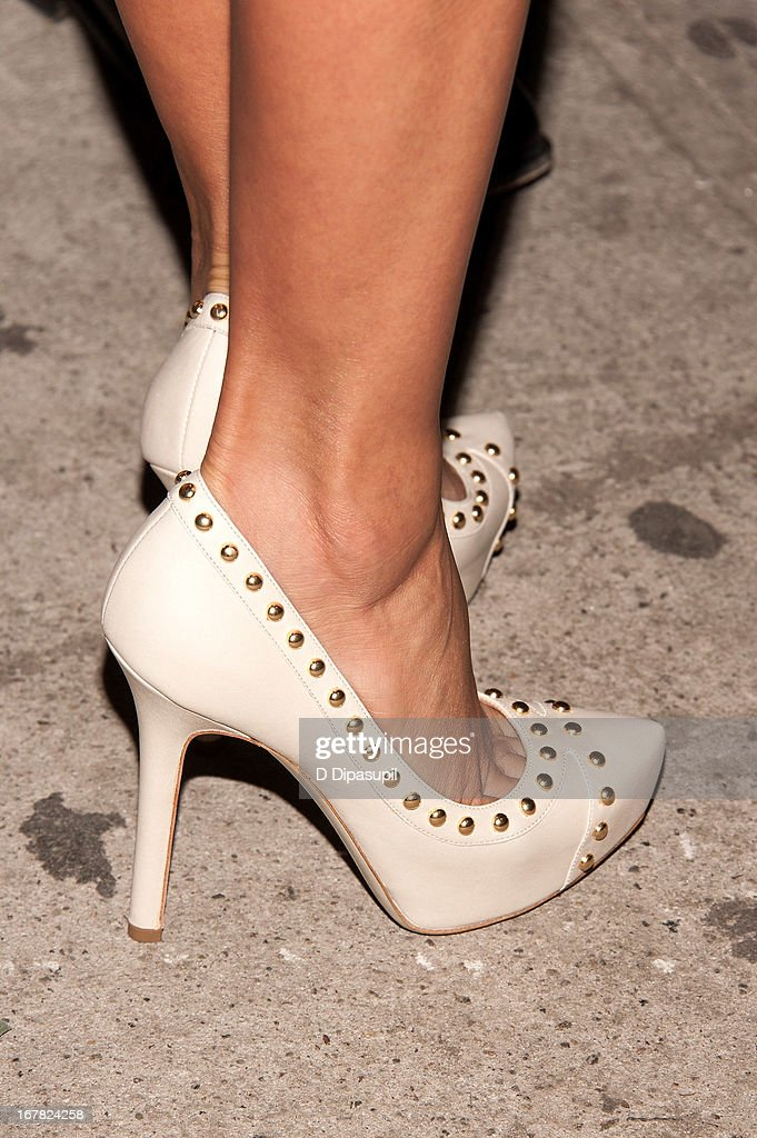 <a gi-track='captionPersonalityLinkClicked' href=/galleries/search?phrase=Eva+Longoria&family=editorial&specificpeople=202082 ng-click='$event.stopPropagation()'>Eva Longoria</a> (shoe detail) attends Ferragamo Celebrates The Launch Of L'Icona Highlighting The 35th Anniversary Of Vara at 530 West 27th Street on April 30, 2013 in New York City.