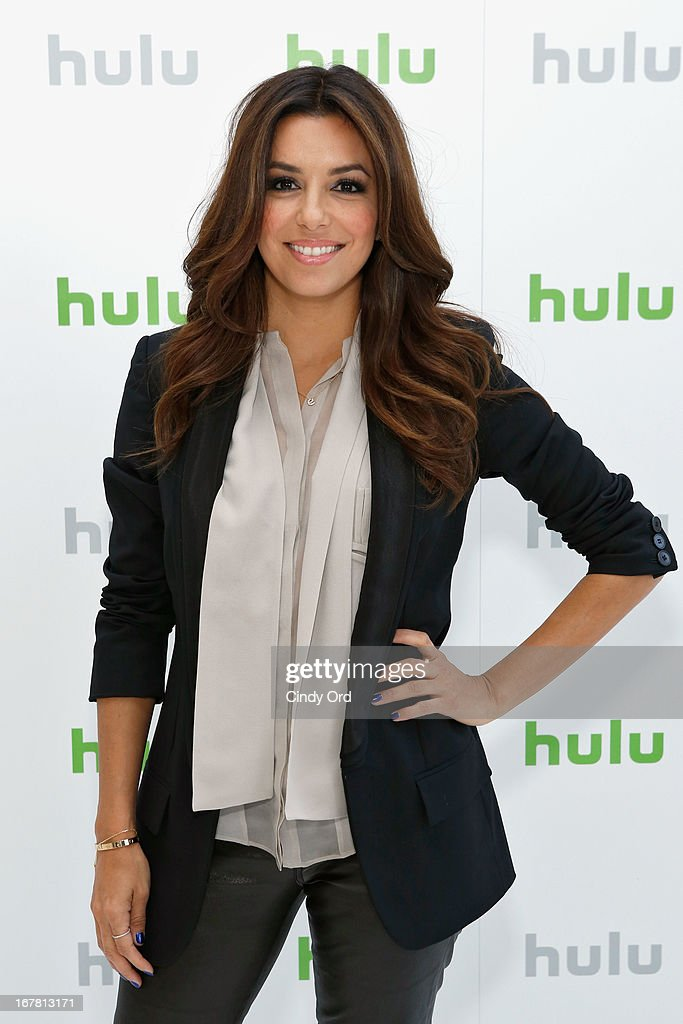 <a gi-track='captionPersonalityLinkClicked' href=/galleries/search?phrase=Eva+Longoria&family=editorial&specificpeople=202082 ng-click='$event.stopPropagation()'>Eva Longoria</a> attends Hulu NY Press Junket on April 30, 2013 in New York City.