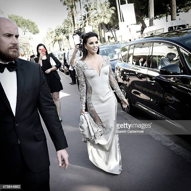 Eva Longoria departs the Martinez Hotel during the 68th annual Cannes Film Festival on May 18 2015 in Cannes France
