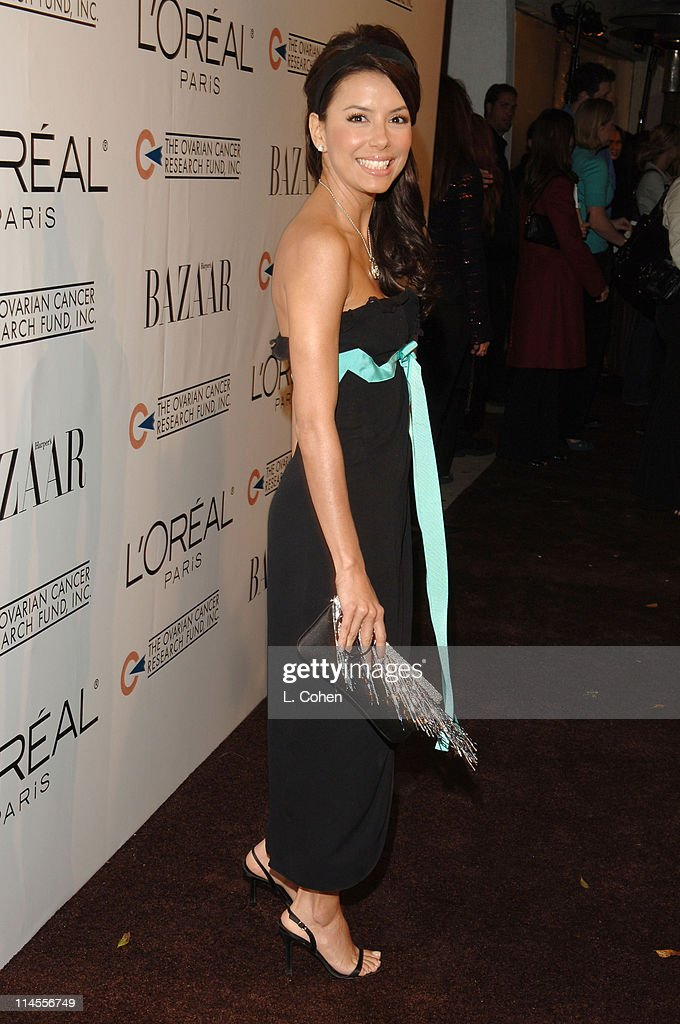 Eva Longoria during L'Oreal Paris Presents 'As Seen in...Harper's Bazaar' to Benefit the Ovarian Cancer Research Fund Hosted by Eva Longoria and Milla Jovovich - Red Carpet at Lindbrook Gallery in Westwood, California, United States.