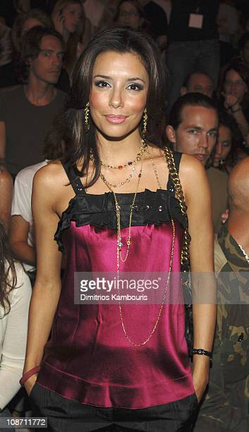 Eva Longoria during Olympus Fashion Week Spring 2006 Marc Jacobs Front Row and Backstage at NY State Armory in New York City New York United States
