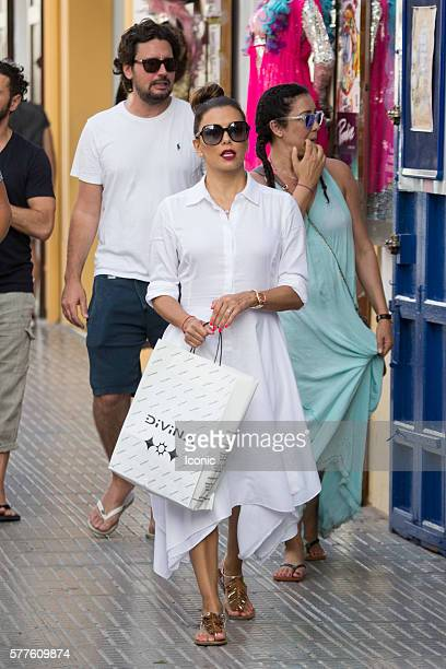 Eva Longoria enjoys a stroll with friends on July 19 2016 in Ibiza Spain