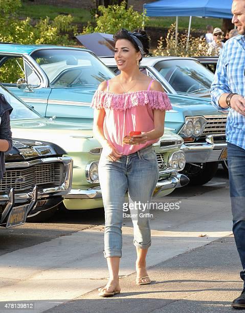 Eva Longoria is seen on the set of 'Lowriders' in Los Angeles on June 22 2015 in Los Angeles California