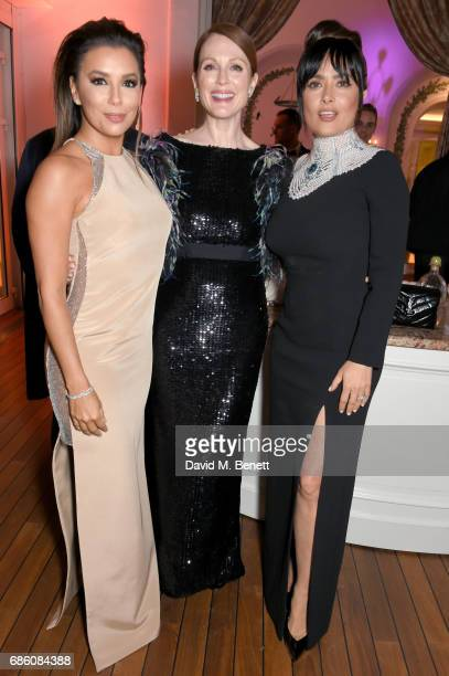 Eva Longoria Julianne Moore and Salma Hayek Pinault attend the Vanity Fair and HBO Dinner celebrating the Cannes Film Festival at Hotel du CapEdenRoc...