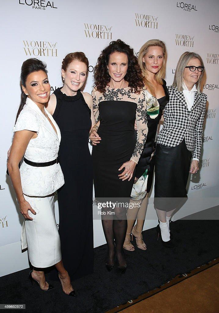 Eva Longoria Julianne Moore Andie MacDowell Aimee Mullins and Diane Keaton attend L'Oreal Paris' Ninth Annual Women Of Worth Celebration at The...