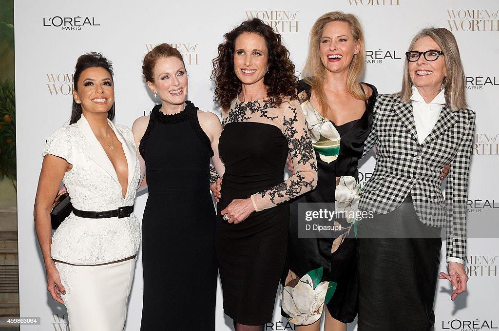 Eva Longoria Julianne Moore Andie MacDowell Aimee Mullins and Diane Keaton attend L'Oreal Paris' Ninth Annual Women of Worth Awards at The Pierre...