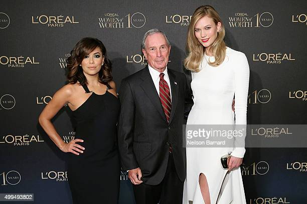 Eva Longoria Michael Bloomberg and Karlie Kloss attend the L'Oreal Paris Women of Worth 2015 Celebration Arrivals at The Pierre Hotel on December 1...