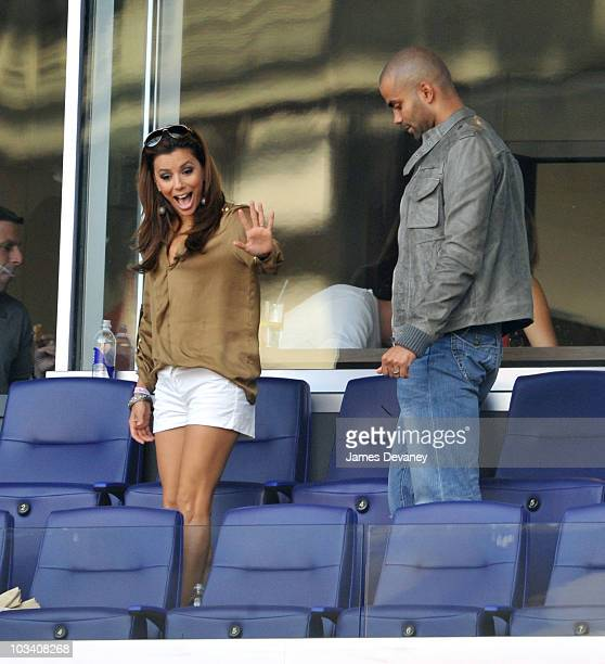 Eva Longoria Parker and Tony Parker attend the Los Angeles Galaxy vs New York Red Bulls game at Red Bull Arena on August 14 2010 in Harrison New...