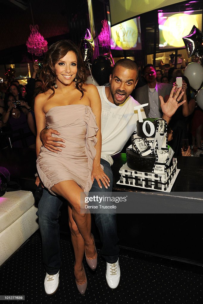 Eva Longoria Parker and Tony Parker celebrate Tony Parker's birthday at Eve Nightclub at Crystals at CityCenter on May 29 2010 in Las Vegas Nevada