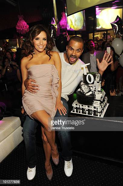 Eva Longoria Parker and Tony Parker celebrate Tony Parker's birthday at Eve Nightclub at Crystals at CityCenter on May 29 2010 in Las Vegas Nevada