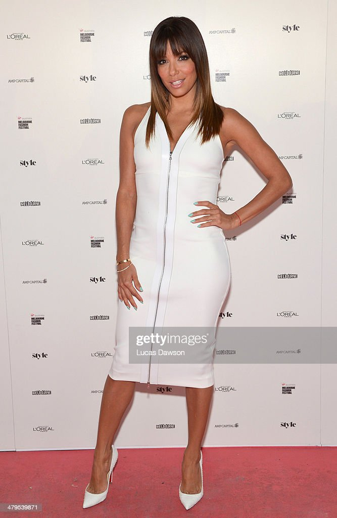 Eva Longoria poses before the Camilla Show during Melbourne Fashion Festival on March 19, 2014 in Melbourne, Australia.