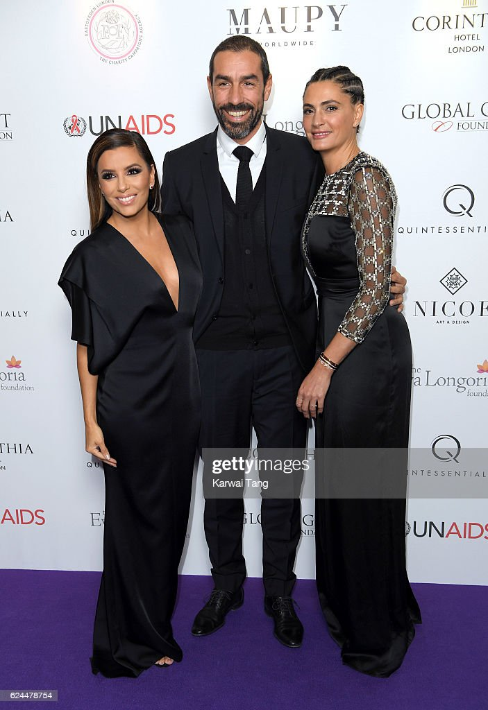 Eva Longoria, Robert Pires and Jessica Lemarie attend the Global Gift Gala in partnership with Quintessentially on November 19, 2016 at the Corithinia Hotel in London, United Kingdom.