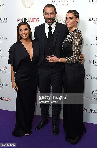 Eva Longoria Robert Pires and Jessica Pires attend the Global Gift Gala London on November 19 2016 in London United Kingdom