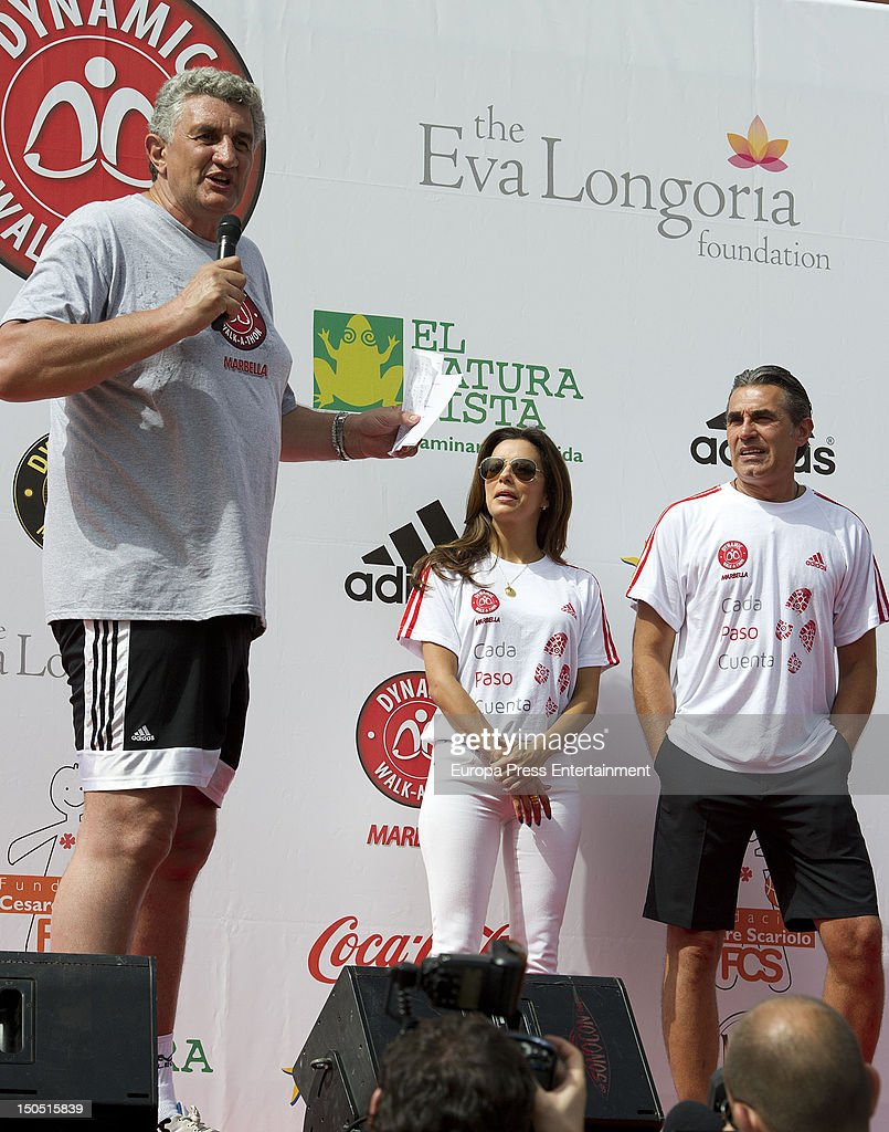 Eva Longoria the ex basketball player Fernando Romay and Sergio Scariolo attend the Dynamic WalkaThon a charity long walk through the city of...