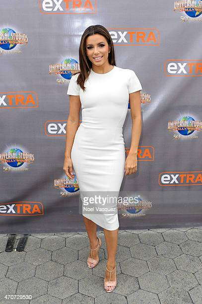 Eva Longoria visits 'Extra' at Universal Studios Hollywood on April 22 2015 in Universal City California