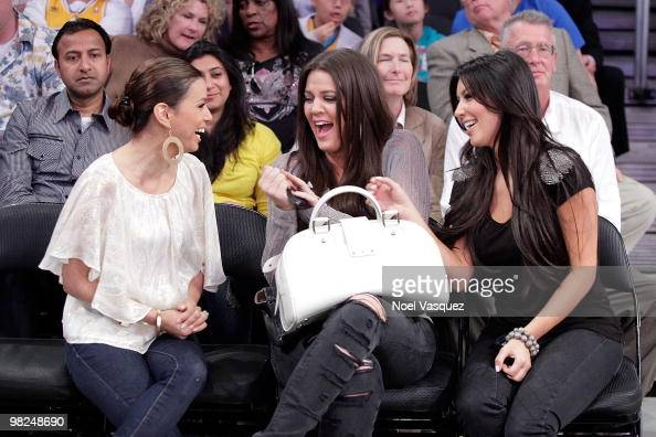 Eva LongoriaParker Khloe Kardashian and Kim Kardashian attend a game between the San Antonio Spurs and the Los Angeles Lakers at Staples Center on...