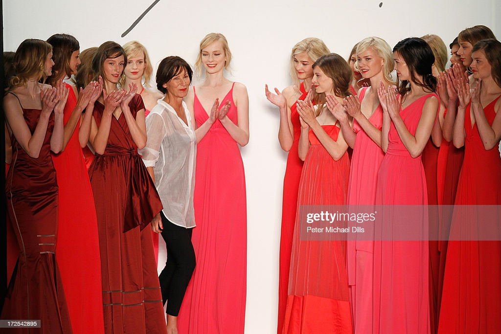 Eva Lutz and models pose on the runway after the Minx By Eva Lutz show during Mercedes-Benz Fashion Week Spring/Summer 2014 at Brandenburg Gate on July 3, 2013 in Berlin, Germany.