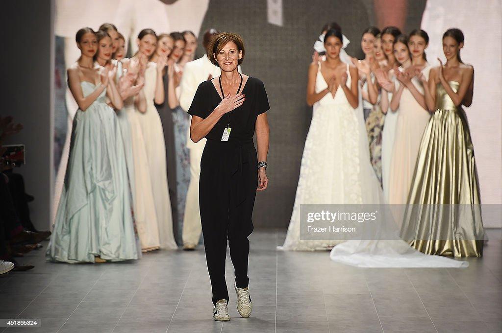 Eva Lutz walks the runway at the Minx by Eva Lutz show during the MercedesBenz Fashion Week Spring/Summer 2015 at Erika Hess Eisstadion on July 9...