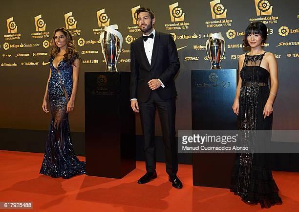 Eva Marcela Dani Martinez and Angela Qi attend the LFP Soccer Awards Gala 2016 at Palacio de Congresos on October 24 2016 in Valencia Spain