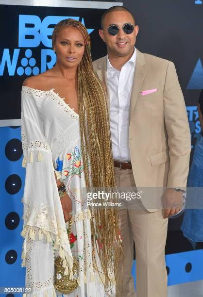 Eva Marcille and Michael Sterling attend the 2017 BET Awards at Microsoft Theater on June 25 2017 in Los Angeles California