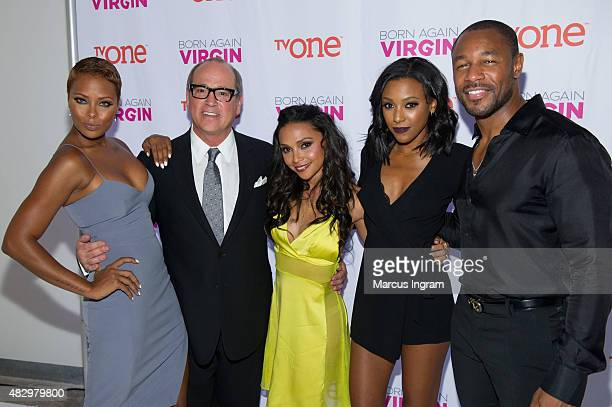 Eva Marcille Brad Siegel Danielle Nicolet Meagan Holder and Tank attend the 'Born Again Virgin' Atlanta premiere at American Spirit Works on August 4...