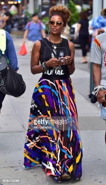 Eva Marcille is seen in Soho on August 4 2017 in New York City