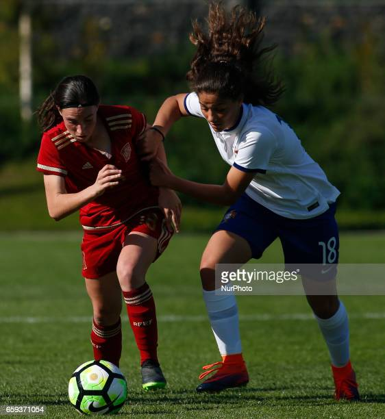 Eva Maria Navarro of Spain and Sofia Silva of Portugal during the UEFA U17 Women's Championship Qualifier match between Spain and Portugal at Cidade...