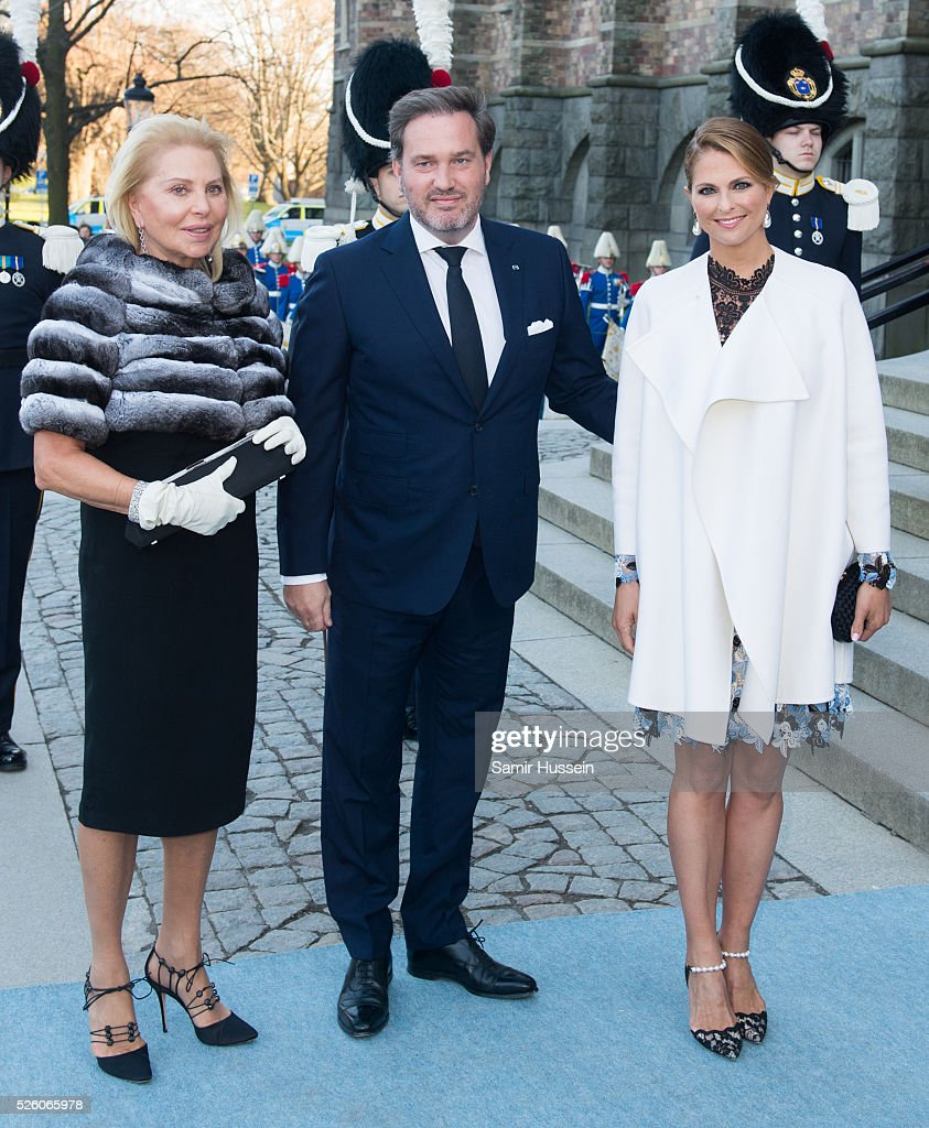 Eva Maria O'Neill, <a gi-track='captionPersonalityLinkClicked' href=/galleries/search?phrase=Princess+Madeleine+of+Sweden&family=editorial&specificpeople=160243 ng-click='$event.stopPropagation()'>Princess Madeleine of Sweden</a> and <a gi-track='captionPersonalityLinkClicked' href=/galleries/search?phrase=Christopher+O%27Neill+-+Husband+of+Princess+Madeleine&family=editorial&specificpeople=7470611 ng-click='$event.stopPropagation()'>Christopher O'Neill</a> arrive to the Nordic Museum to attend a concert of the Royal Swedish Opera and Stockholm Concert Hall to celebrate the 70th birthday of King Carl Gustaf of Sweden on April 29, 2016 in Stockholm, Sweden.