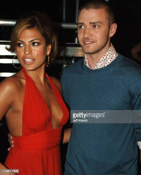 Eva Mendes and Justin Timberlake during 2006 MTV Movie Awards Backstage and Audience at Sony Studios in Culver City California United States
