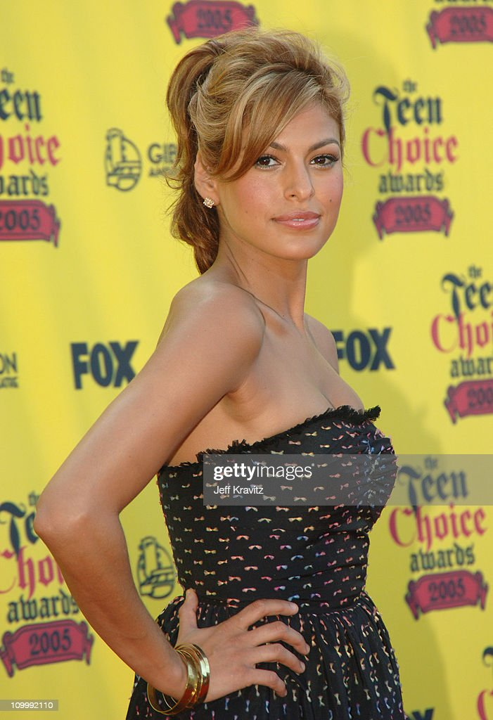 Eva Mendes during 2005 Teen Choice Awards Arrivals at Gibson Amphitheater in Universal City California United States