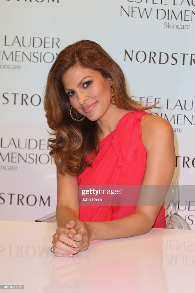 <a gi-track='captionPersonalityLinkClicked' href=/galleries/search?phrase=Eva+Mendes&family=editorial&specificpeople=194937 ng-click='$event.stopPropagation()'>Eva Mendes</a> launches Estee Lauder New Dimension Skincare at Nordstrom Aventura on July 25, 2015 in Aventura, Florida.