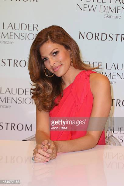 Eva Mendes launches Estee Lauder New Dimension Skincare at Nordstrom Aventura on July 25 2015 in Aventura Florida