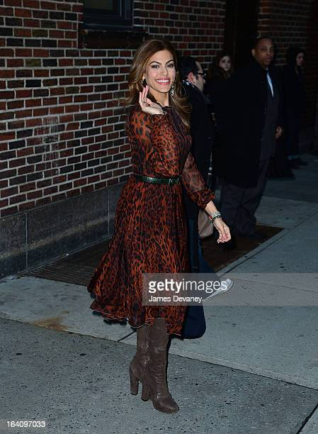 Eva Mendes leaves the 'Late Show With David Letterman' at Ed Sullivan Theater on March 19 2013 in New York City