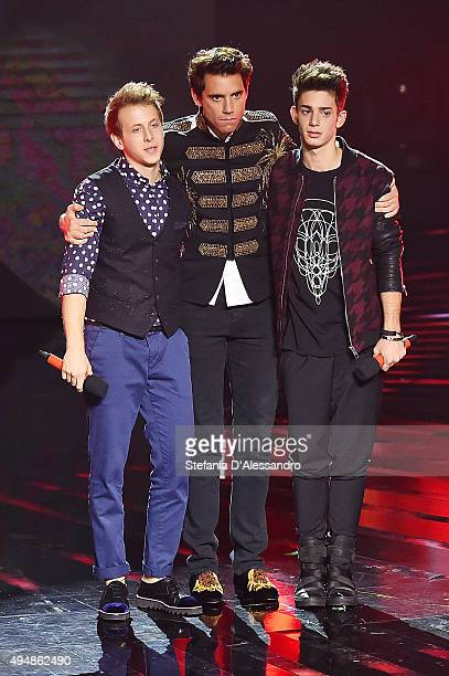 Eva Mika and Luca attend 'X Factor' Tv Show on October 29 2015 in Milan Italy