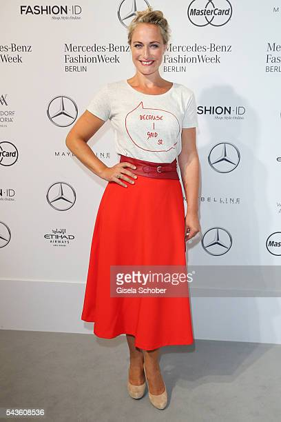 Eva Mona Rodekirchen attends the Rebekka Ruetz show during the MercedesBenz Fashion Week Berlin Spring/Summer 2017 at Erika Hess Eisstadion on June...