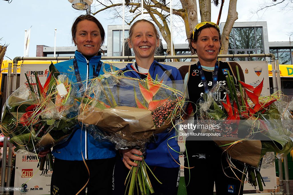 Eva Nystrom (Silver medal) of Sweden, Lucy Gossage (Gold) of Great Britain and Jenny Schulz (bronze) of Germany pose after the Elite Womens Long Distance race during the 2013 Horst ETU Powerman Long Distance and Sprint Duathlon European Championships on April 21, 2013 in Horst, Netherlands.